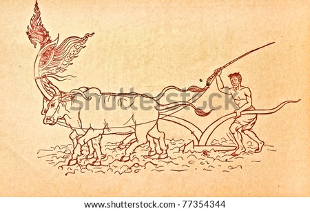 The Vintage paper with old red Line designed about ancient farming - stock photo