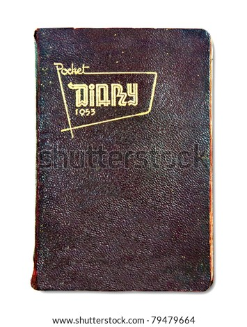 The Vintage pocket diary since 1953 isolated on white background - stock photo