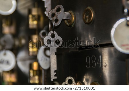 The vintage safety deposit box and key. - stock photo