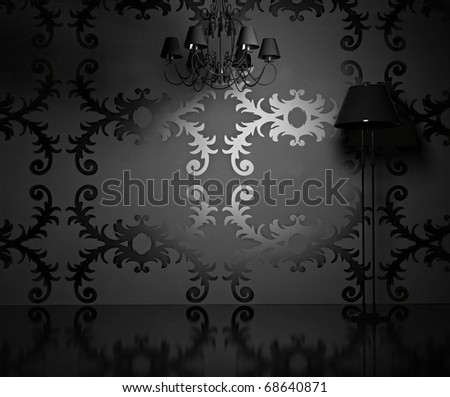the vintage wallpaper  in modern blank  interior  (3D rendering) - stock photo
