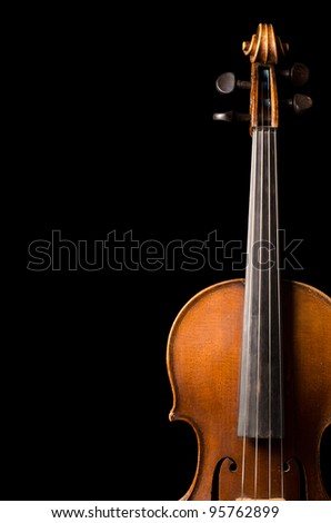 The violin close up on black Background - stock photo
