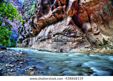 The virgin river at Zion National Park, Utah. HDR (High dynamic range) picture. - stock photo
