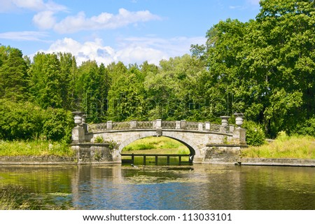The Visconti Bridge in Pavlovsk Park near Saint Petersburg, Russia