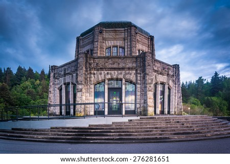 The Vista House, in the Columbia River Gorge, Oregon. - stock photo