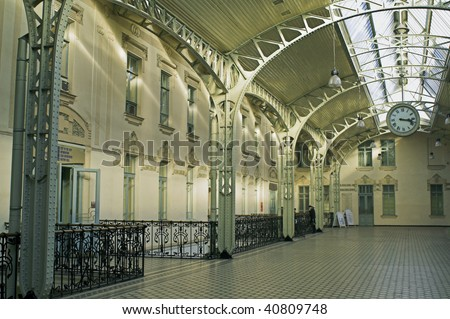 The Vitebsk Railroad Station hall in Saint Petersburg, Russia - stock photo