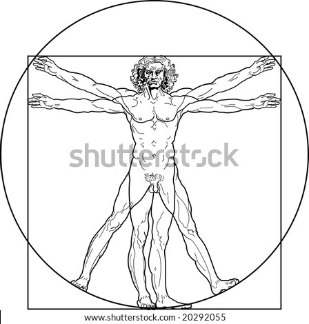 The Vitruvian man. Detailed drawing on the basis of manuscript by Leonardo da Vinci (executed circa in 1490). This JPEG-file has a EPS-copy in my portfolio. - stock photo
