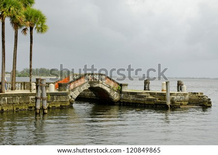 The Vizcaya Museum and Gardens, is the former villa and estate of businessman James Deering, of the Deering McCormick-International Harvester fortune, on Biscayne Bay in Coconut Grove, Miami, Florida - stock photo