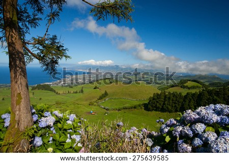 The volcanic hills on Sao Miguel island, Azores, Portugal - stock photo