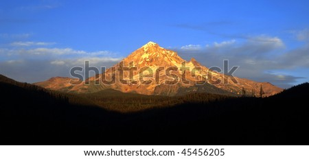 The volcanic Mt. Hood, in Oregon, photographed at sunset. - stock photo