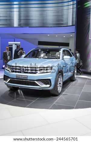 The 2016 Volkswagen Cross Coupe GTE plug-in hybrid at The North American International Auto Show January 12, 2015 in Detroit, Michigan.