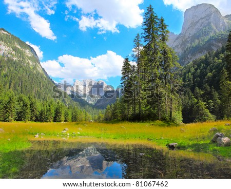 The Vorderer Gosausee alpine mountain lake in Salzkammergut, Austria, Europe. - stock photo