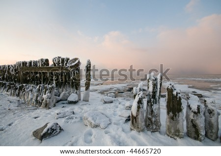 The wadden sea at paesens moddergat in winter condition - stock photo