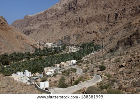 The Wadi Tiwi in Oman - stock photo
