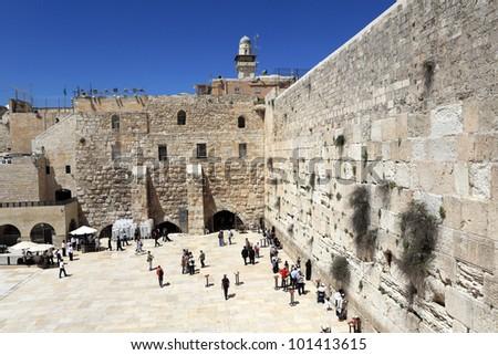 The wailing wall of Jerusalem - stock photo