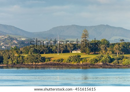 The Waitangi Treaty Grounds is the place where Maori chiefs first signed their accord with the British Crown in 1840 - Te Tiriti of Waitangi, New Zealand?? founding document. - stock photo