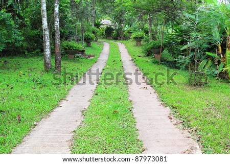 The Walk path in the park - stock photo