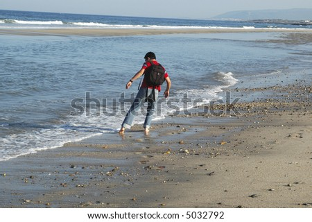 the walked one, together to the water and close to the sea... - stock photo