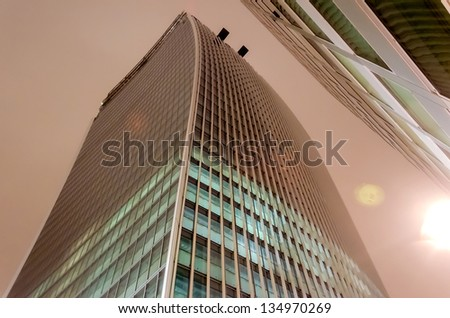 The Walkie Talkie Building at night, London, UK - stock photo