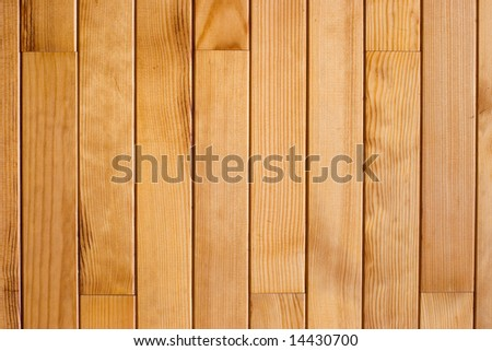 The wall decorated by varnished wooden  planks background pattern - stock photo