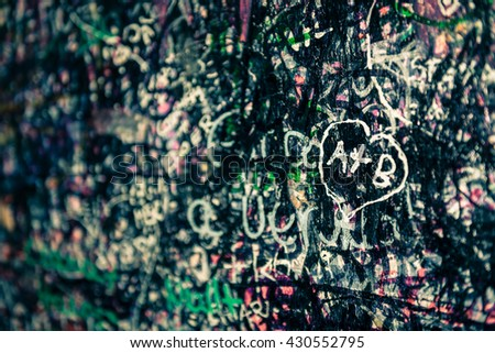 The wall full of messages from lovers in Juliet house, Verona, Italy. - stock photo