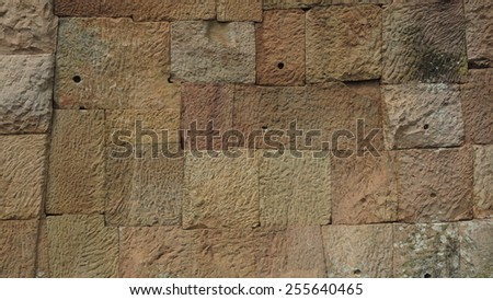 The Wall of Prasat Hin Phanom Rung or Phanom Rung Stone Castle Ruin of Buriram Thailand - stock photo