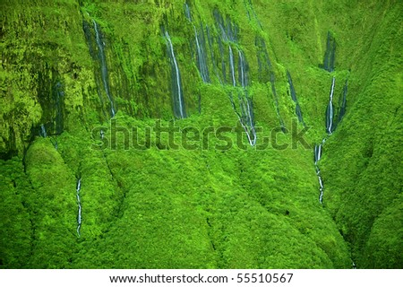 The 'Wall of Tears'  has over 17 waterfalls flowing at once - Maui, Hawaii - stock photo