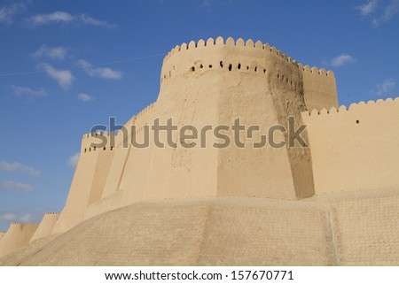 The wall of the fortress in the old city of Khiva, Uzbekistan