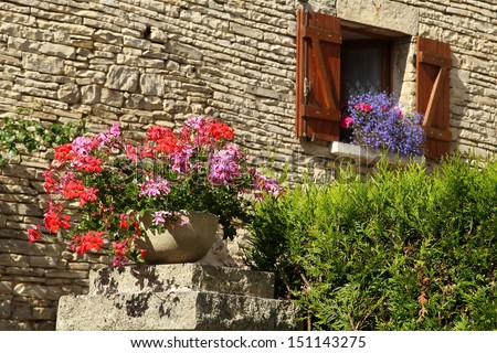 The wall of the house decorated with flowers, Burgundy, France