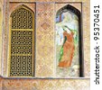 The wall painting of Ali Qapu in Isfahan, Iran - stock photo