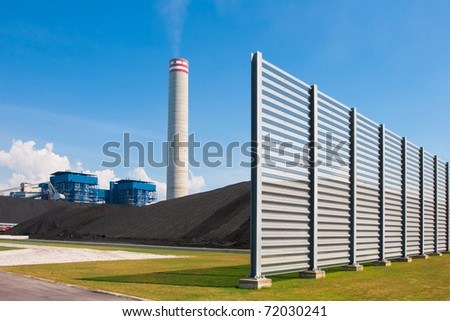 The wall that protection dust from the charcoal in safety prevention in the power plant - stock photo