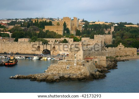 The Walled City of Rhodes - stock photo