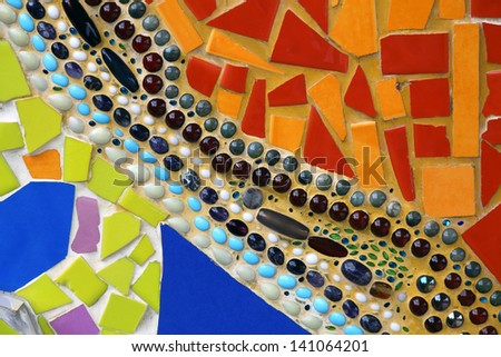 The walls are decorated with tiles and beads. - stock photo