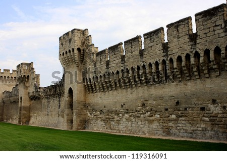 The walls around medieval city of Avignon, France - stock photo
