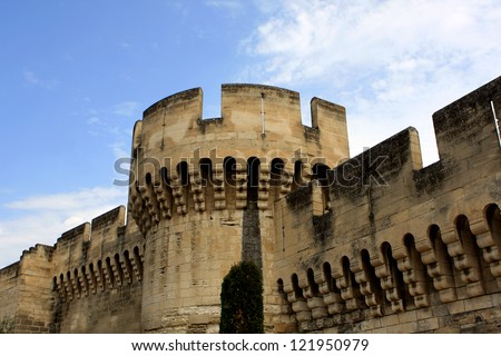 The walls around medieval city of Avignon, France