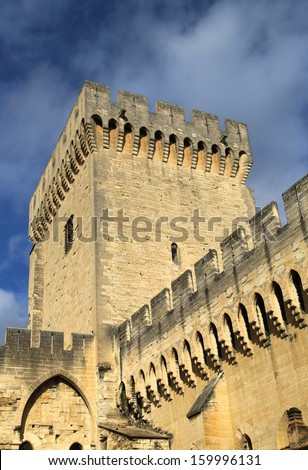 The walls of Papal Palace in Avignon, France  - stock photo