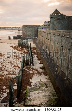 The walls of St. Malo, Brittany, France - stock photo