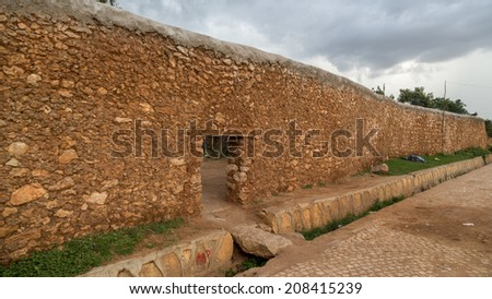 The walls of the fortified historic city Jugol, which was included in the World Heritage List for its cultural heritage by UNESCO, and considered as the fourth holy city of Islam - stock photo