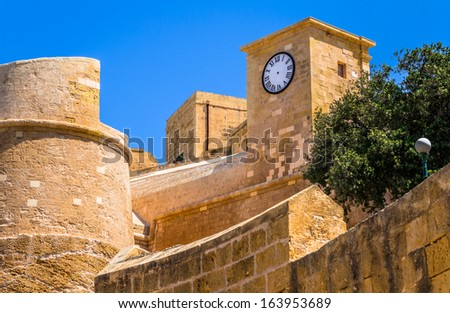 The walls of the Gozo citadel in Malta. - stock photo