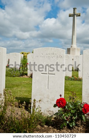 The war grave of an unknown soldier - stock photo