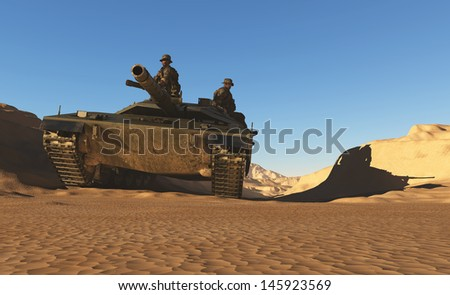 The war machine with the soldiers. - stock photo