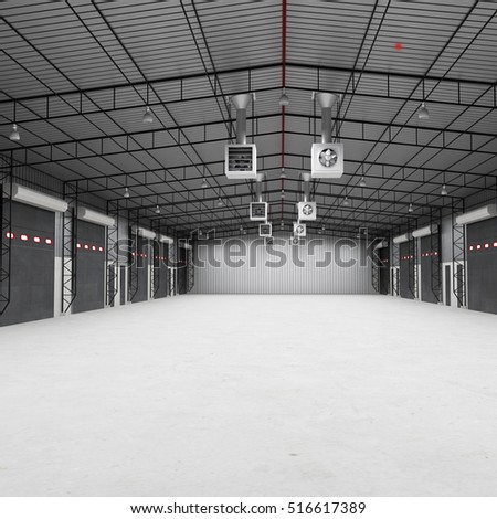The warehouse complex for the storage of consumer goods. 3D illustration