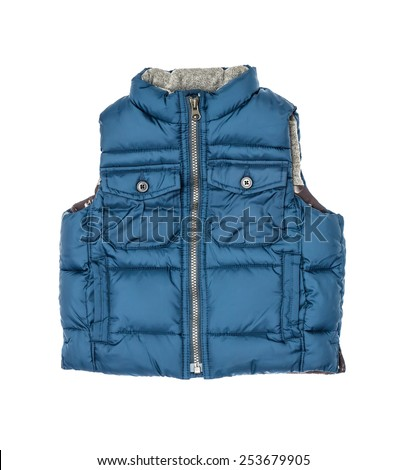 The warm children's blue vest on a lightning isolated on the white - stock photo
