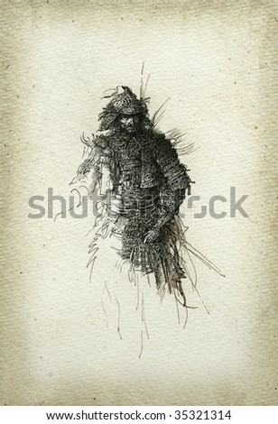 The warrior in the Japanese style. Made by ink on paper. - stock photo