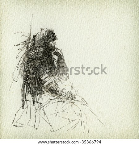The warrior's rest. Made by ink on paper. - stock photo