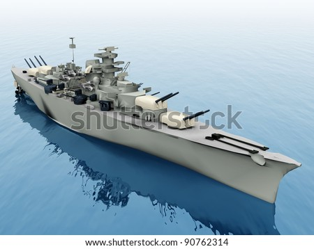 the warship on a blue sea - stock photo
