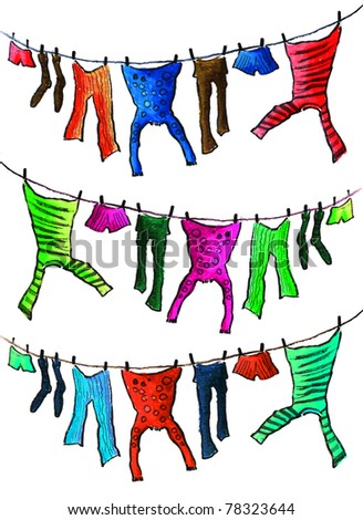 The washed clothes on drying - stock photo