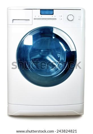 The washing machine on a white background - stock photo