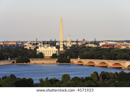 The Washington, DC skyline showing the Potomac River, Memorial Bridge, US Capitol, Washington Monument and Lincoln Memorial. - stock photo
