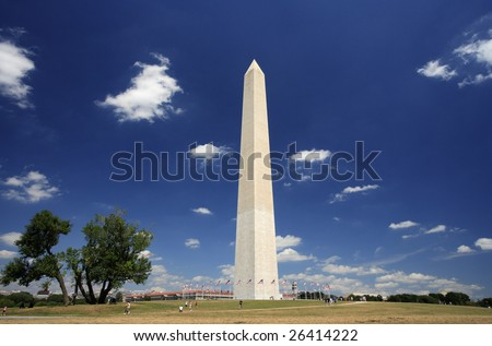 The Washington Monument as viewed on a beautiful summer day.