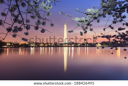 The Washington Monument illuminated at night and reflecting in the water of the Tidal Basin in Washington DC. - stock photo